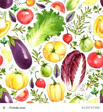 Vegetarisches LCHF - gezeichnete Gemüsesorten, bunt durcheinander