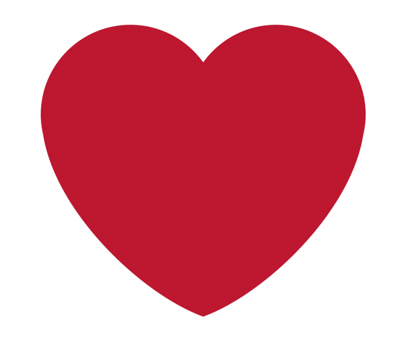 rotes Herz auf weißem Hintergrund - Plus auf der Waage
